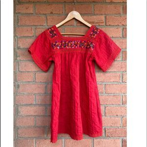 Vtg 70s Boho EMBROIDERED Pintuck Mexican Dress